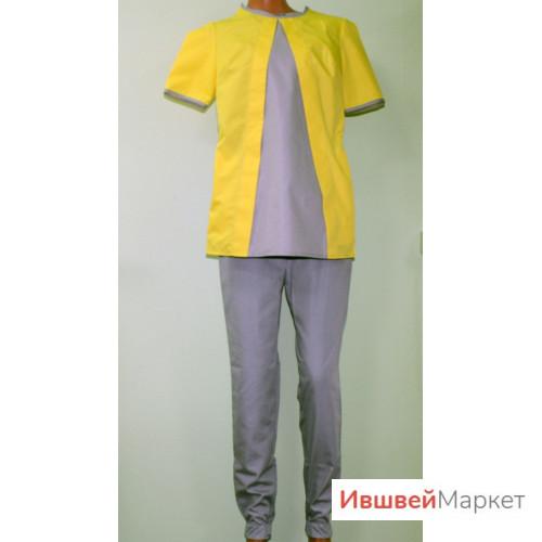 Костюм медицинский женский М-127, серый/желтый