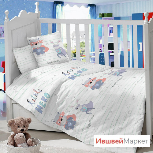 """КПБ детский сатин BABY TIME """"Супергерой"""""""