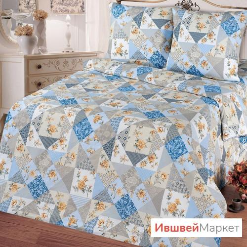 КПБ Лоскутная мозаика бязь, голубой, ТМ Ноктюрн